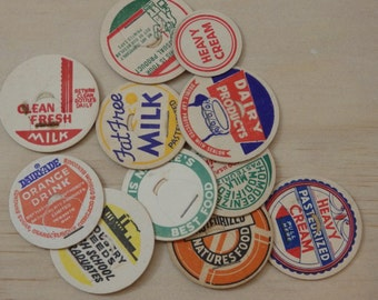 "Lot of 12 Vintage Cardboard Milk Caps. 1."" Paper, scrap booking, card making, found object retro rockabilly deiselpunk"