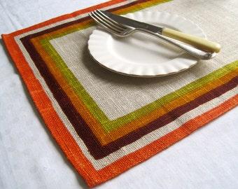 Vintage Orange & Brown Irish Linen Placemats (set of 7)