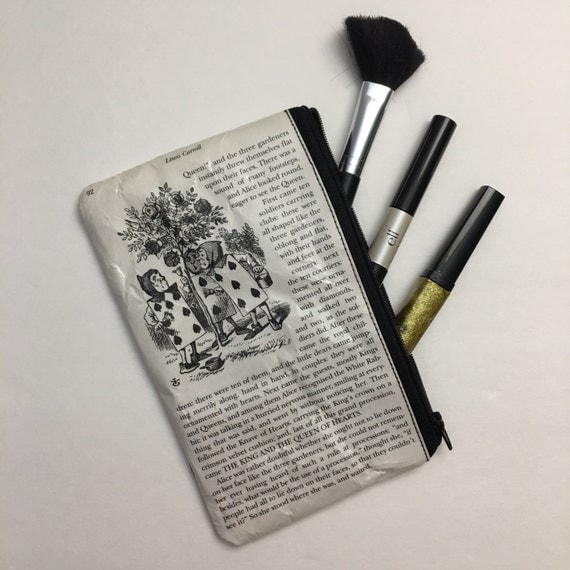 Alice in Wonderland Book Themed Pencil or Make-up Pouch - The Spades