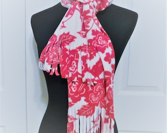 Warm Pink Scarf, Rose Scarf, Bird Scarf Pink and White by Old Navy