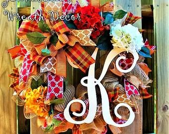 Fall Wreath, Summer, Rust, Mustard Yellow, Creme Hydrangeas, Jute Mesh, Painted Monogram Vine Letter