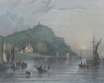 Original 1830's Erith At Kent Hand Colored Engraving By Tombleson & Co London - Free Shipping