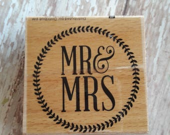 Mr & Mrs Wood Mounted Rubber Stamp Scrapbooking Paper Craft Supplies