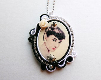 Audrey Hapburn Soutache Necklace handmade product made in italy by KIMA OOAK