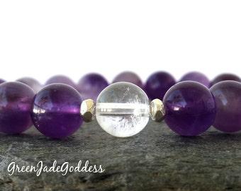 Quartz bracelet, Amethyst bracelet, Sterling silver bracelet, Karen Hill beads