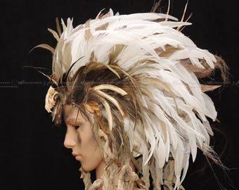 IRO head dress / / LARP head dress / / Gothic fashion / / ritual headdress with feather comb / / savage-style