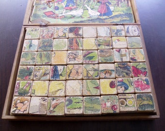 Wood block puzzle game Antique French 48 wood blocks Original box Images on 6 faces making 6 different image puzzles