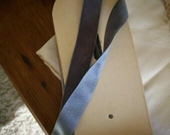 """Vintage Silk Velvet Trim with Satin Back Grey Blue lavender Yardage 3/4"""" Wide original old store stock"""