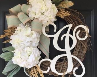 Wreath -Spring Wreath -Shabby Chic Wreath -Gifts for Her -Wreaths -White Hydrangea Lace Monogram Wreath - Housewarming Gift -Home Decor