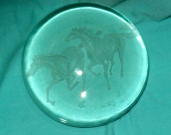 Heavy Round Dome Glass Paperweight Etched Running Horses