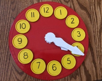 Vintage Hilary Page Sensible Toy KIDDICLOCK Red Yellow Hard Plastic Durable Minutes Hours