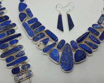 Natural LAPIS LAZULI, Fancy Bezeled, Necklace, Bracelet, Jewelry Set, Sterling Silver, Womans, Metaphysical, Astrological, Healing, Chakra