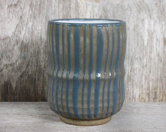 Japanese Pottery, Matcha, Chawan, Ceramic Cup, Yunomi, Tea Cup, Blue, Striped, Hand Painted, Terracotta Cup, Tea Ceremony, Made In Japan.