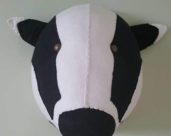 BADGER - Faux Taxidermy - Felt Wall Mounted Animal Head - Boris Badger - black and white - wall decor.