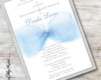 Baby Boy Baptism Invitation Christening Invitation Blue