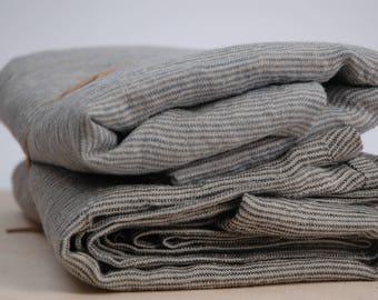 Set of 2 Soft linen bath towels Pure linen fabric bath sheets Natural and dark grey/ligt blue narrow printstripes Stonewashed Linen towels