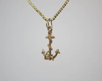 10K GOLD PENDANT, Boat anchor, Necklace Pendant, Charm bracelet, Jewelry, Nautical, Solid gold, Chain, Necklace, Father's day Gift