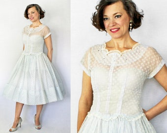 1950s Sheer Dress / 50s Sheer Dress / 50s Dress / 1950s Dress / Sheer Dress / Blue Dress / 1950s Day Dress / 50s Day Dress / Waist 29""