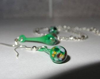 Necklace & Earrings. Tadpoles - Blown Glass Set