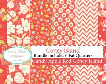 Coney Island Candy Apple Red Fat Quarter Bundle by Fig Tree Quilts