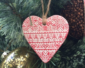 Christmas heart decoration, fairisle print, rustic decoration, christmas decoration, heart decoration