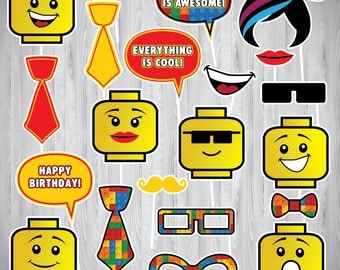 Lego, Lego Photo Booth Props, INSTANT DOWNLOAD PRINTABLE, Lego Photo Props, Lego Party, Lego Photo Booth, Lego Inspired Photo Booth Props,