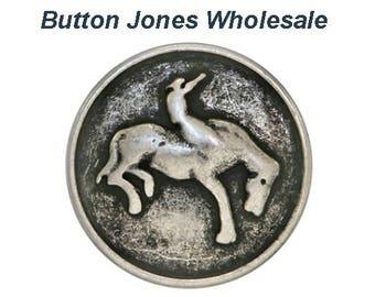 50 pcs. Bronco 3/4 inch ( 20 mm ) Metal Buttons Antique Silver Color