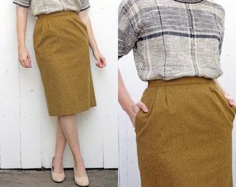 "SALE Vintage Skirt   High Waist Wool Pencil Skirt Chartreuse Pockets   Small S 26"""