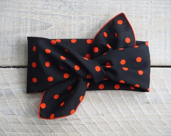 Vintage Ray Strauss Black & Red Polka Dot Scarf ~ Classic Rockabilly Hair Wrap ~ Retro 60's Headband (B15)