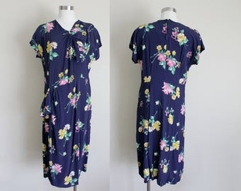 1940s Floral Dress | Sarong Dress | Peplum Dress