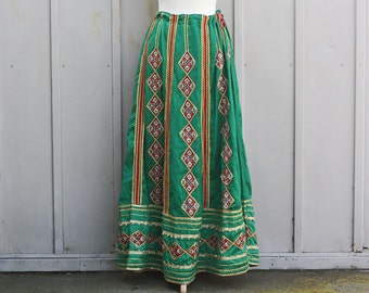 Bohemian Maxi Skirt - Vintage Psychedelic Clothing - High Waist Floor Length Skirt- Green Boho Skirt - 70s Hippie Skirt - Beaded Gypsy Skirt
