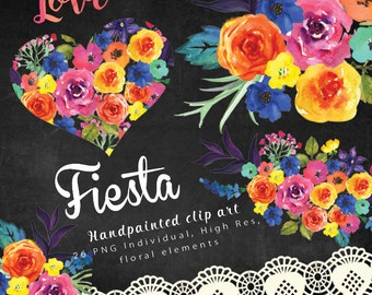 Love Fiesta Watercolor clipart,  Mexican flowers clipart, wedding clip art, digital clipart, hand painted flowers