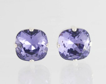 Tanzanite 12mm Swarovski crystal earrings,Swarovski Tanzanite earrings,purple crystal earrings,tanzanite earrings,purple earrings,12mm stud