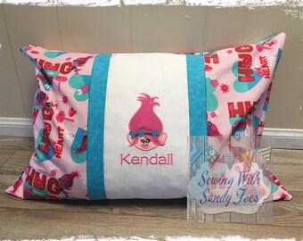 Troll Pillow Case, Troll Inspired Travel or Standard Pillow case, Personalized Poppy Pillow Case, Kids Bedding, troll bedding