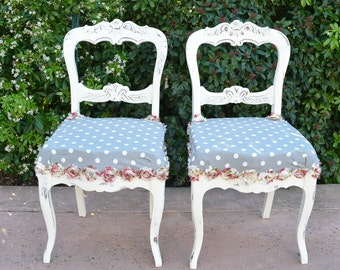 Country French Chairs Antique Chairs Polka Dots and Roses Shabby Chic