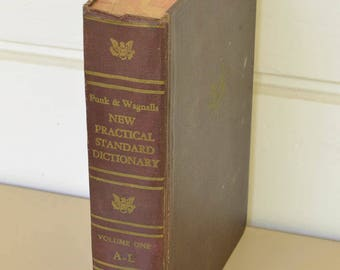 Dictionary, Large Decorative Book, Funk and Wagnalls, 1953 Volume 1,
