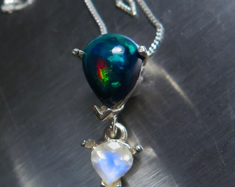 Natural Ethiopian Welo Black Opal & rainbow moonstone Sterling .925 silver necklace, pendant (chain is included)