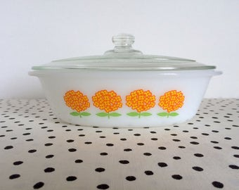 Vintage Glasbake Orange Flowers Casserole Dish, Glasbake Oval Casserole Dish, Glasbake Flower Dish, Retro 1960s 1970s Flower Power Dish