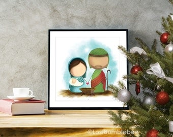 The Nativity 12x12 Tiny Human Nativity Scene Digital File Instant Download by LostBumblebee
