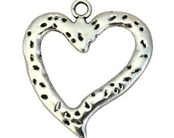 2 Hammered Silver Open Heart Charm Pendant 47x43mm by TIJC SP1564