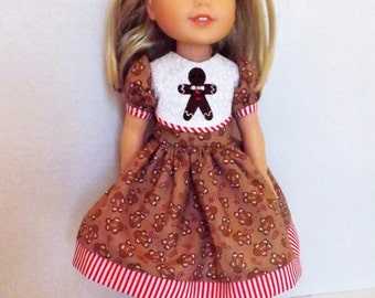 "Gingerbread Christmas Dress for 14.5"" dolls"