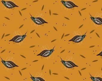 Mountain Quail (Organic Poplin Fabric) by Charley Harper from the Western Birds collection for Birch Fabrics