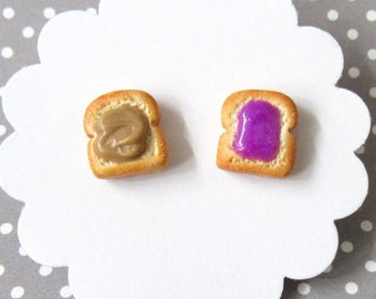 Peanut Butter Jelly Earrings, Food Earrings, PBJ Earrings, Stud Earrings, Hypoallergenic Posts, Cute Earrings, Fun Earrings