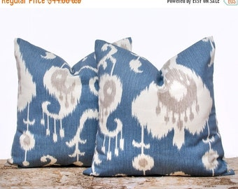 """SALE ENDS SOON Blue Ikat Pillow Covers, Blue and Cream Pillowcases, Ikat Pillow Covers, Decorative Pillows for Couch, Set of 2, 22 x 22"""""""