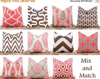 SALE ENDS SOON Pink Throw Pillows, Bittersweet Pink Pillows, Brown Throw Pillows, Chevron Pillows, Cotton Pillow Covers, Sizes 12 14 16 18 2