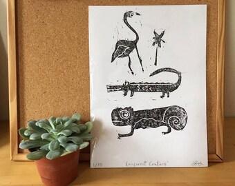 A4 Lino print 'Rainforest Creatures'