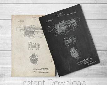 Gun Printables, Thompson Submachine Gun Patent Poster, Tommy Gun, Gun Enthusiast, Mafia, Gun Wall Art, PP1099