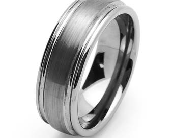 Custom Personalized Engraved 8MM Comfort Fit Tungsten Carbide Wedding Band Domed Groove Ring Free Gift