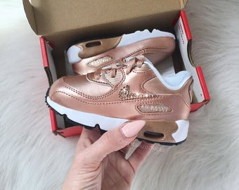 Toddler Nike Air Max 90 Rose Gold Shoes Made with SWAROVSKI® Crystals