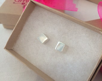 Large Cube Studs - Solid Sterling Silver 925